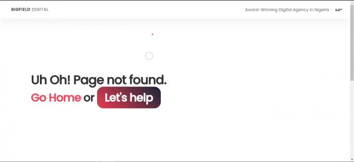 sample of Big Field Digital's error 404 page