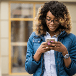 black lady with a smartphone